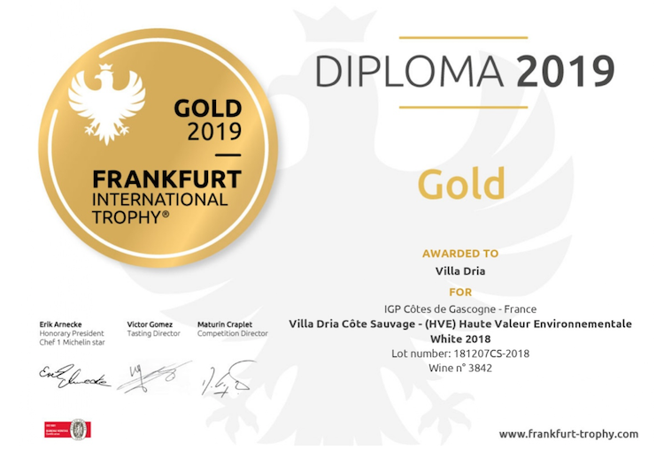 médaille d'or pour le vin blanc sec côte de gascogne