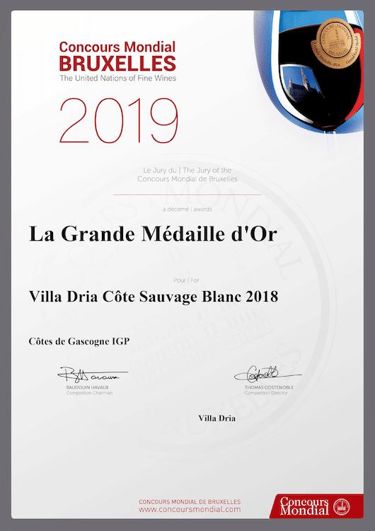 Résultat du concours de Bruxelles, Grande Médaille d'or pour le côte Sauvage, Vin blanc des Côtes de Gascogne